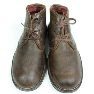 Brown Leather Lace Up Chukka Ankle Boots